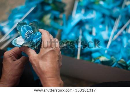 preparing the flower eggs.selected focus  - stock photo