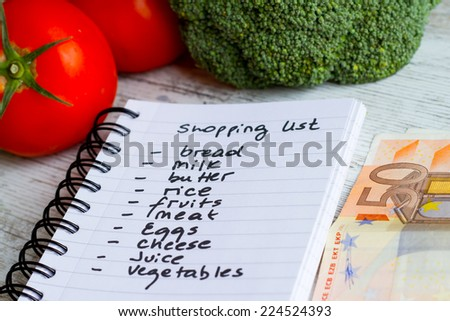 Preparing the shopping list before going to buy the groceries.. - stock photo