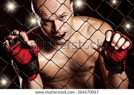 Preparing to fight,Mixed Martial Arts Fighter - stock photo