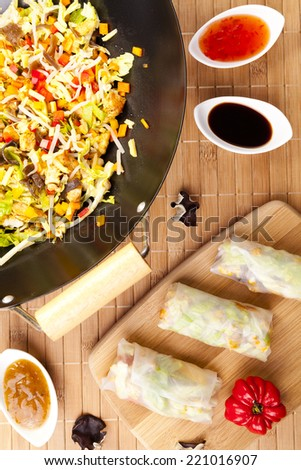 Preparing to serve spring rolls to eat - the view from the top - stock photo