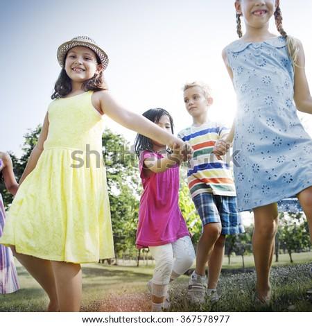 Preschooler Children Play Recreation Friends Concept - stock photo