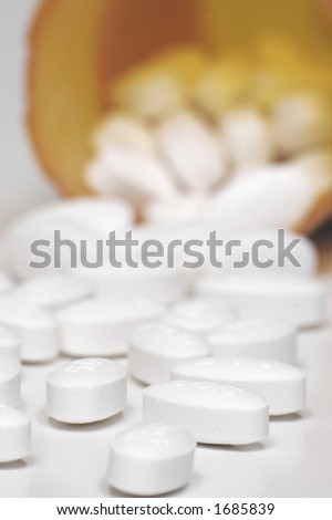 Prescription Drugs and Pill Bottle - stock photo