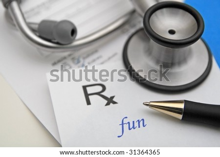 prescription for fun with stethoscope and health chart - stock photo