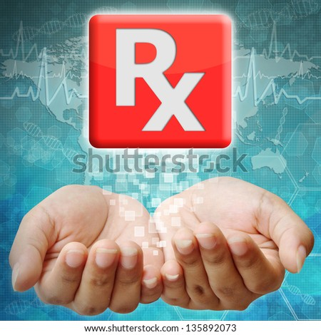 Prescription icon on hand ,medical background - stock photo
