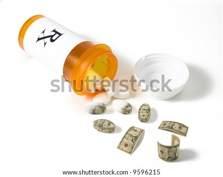 prescription pills turn into money - stock photo
