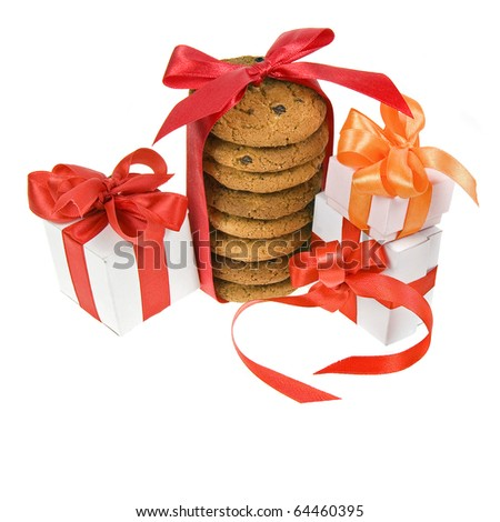 present box and cookies with red bow isolated - stock photo