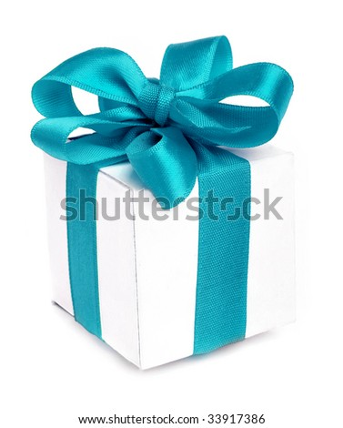 present box close up isolated on white background - stock photo
