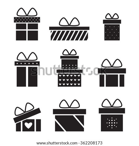 Present box isolated black silhouette icons on white background. Christmas present. Birthday present. Holiday present. Present icon. Present gift. Presents collection. Flat style illustration.  - stock photo