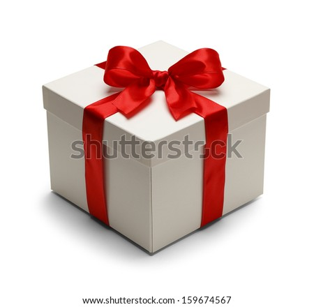 Present Box with Lid Top and Red Bow With Ribbon Isolated on White Background. - stock photo