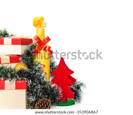 present boxes and wrapped wine and cup and christmas tree on white background with copy space - stock photo