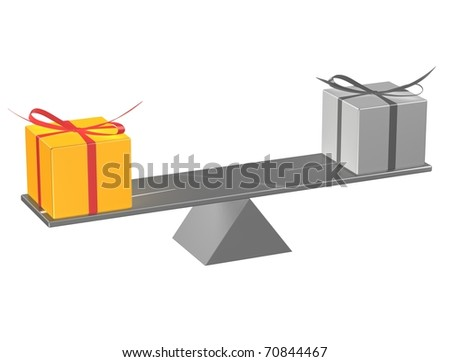 Present boxes on seesaw. 3d render illustration. - stock photo
