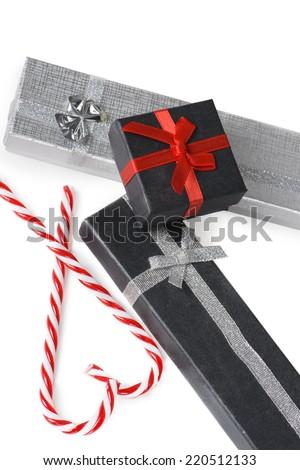Present boxes on white - stock photo