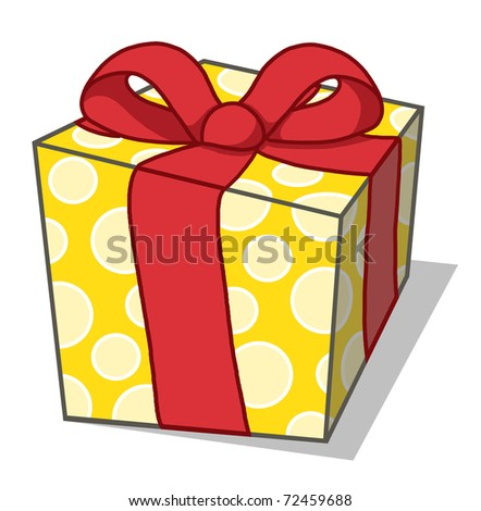 Present illustration; Gift box with ribbon drawing - stock photo