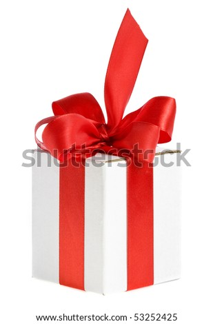 present white box with red ribbon bow - stock photo