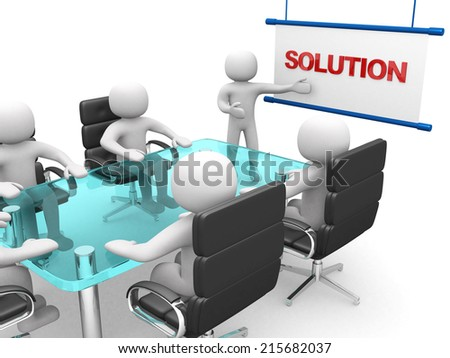 Presentation. 3d white business persons at a workshop. Isolated white background  - stock photo