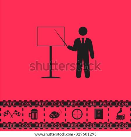 Presentation. Man standing with pointer. Black flat illustration pictogram and bonus icon - Racing flag, Beer mug, Ufo fly, Sniper sight, Safe, Train on pink background - stock photo