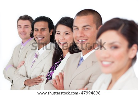 Presentation of a business team lining up against a white background - stock photo
