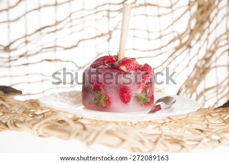 presentation of a cream based on strawberry fruit plate - stock photo