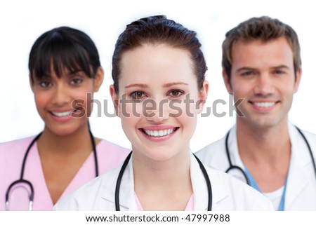 Presentation of a diverse medical team against a white background - stock photo