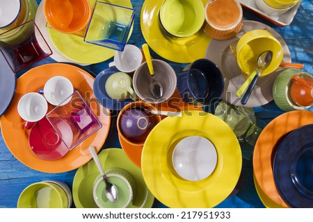 Presentation of mixed accessories for a colorful kitchen  - stock photo