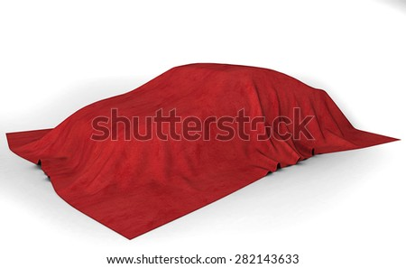 Presentation of the car. Autoshow. Car under the tissue. White backgound - stock photo