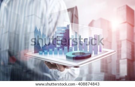 Presenting average sales report - stock photo
