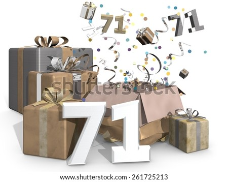 Presents and confetti. Industrial look, metallic colors like gold and silver for a man or a womans birthday. On front of the image 3D number 71 - stock photo
