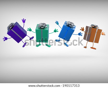 Presents Meaning Birthday Xmas Or Anniversary Gifts - stock photo