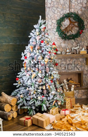 Presents under the Decorated Christmas tree. Happy new year! - stock photo