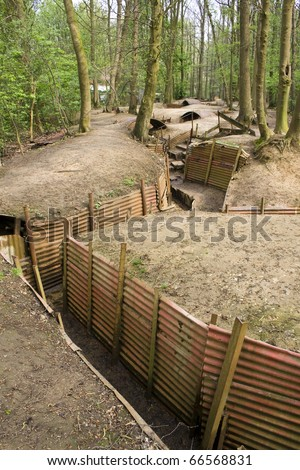 Preserved first world war trenches in Belgium, Europe - stock photo