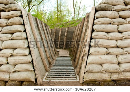 Preserved first world war trenches in Holland, Europe - stock photo