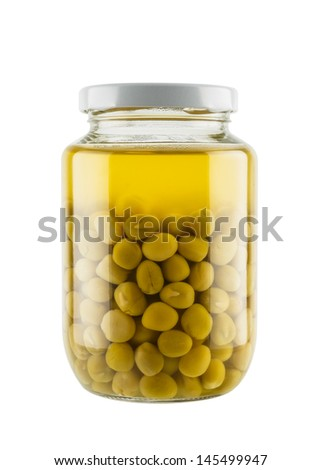 Preserved peas in glass jar isolated on white background - stock photo