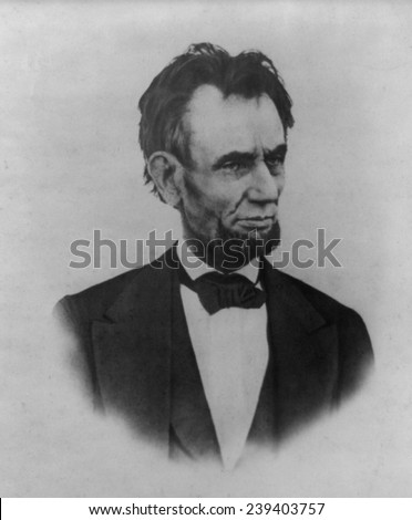 President Abraham Lincoln (1809-1865), portrait taken on the balcony at the White House, March 6, 1865, by Henry Warren. - stock photo