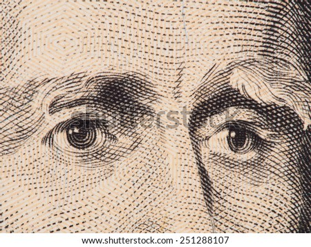 President Andrew Jackson eyes extreme macro on us 20 dollar bill, united states money closeup - stock photo
