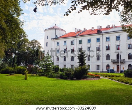 President castle and park near it - stock photo