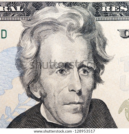 president jackson on the twenty dollar bill - stock photo