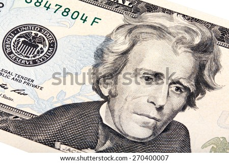 President Jackson on the twenty dollar bill stacked shot. - stock photo