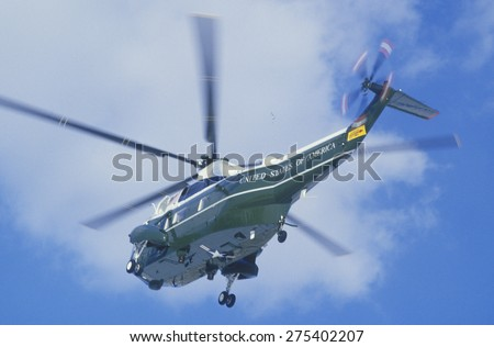 President Reagan arriving at the White House in a helicopter in Washington, D.C. - stock photo