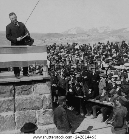 President Roosevelt speaking of Yellowstone Park, in Gardiner, Montana during his 1903 Western tour. - stock photo