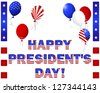 President's Day. Beautiful text and balloons with the pattern of the American flag on white.  Raster version. - stock photo