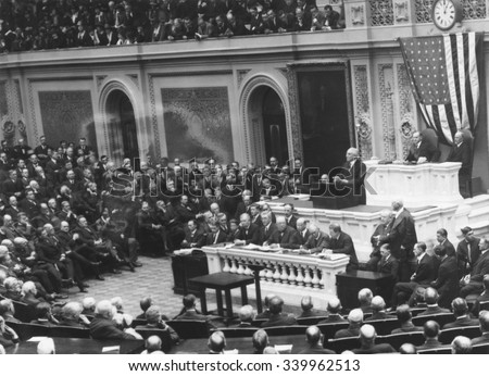 President Warren Harding before a Joint Session of Congress, April 12, 1921. He presented an outline of his administration's foreign and domestic policy. He was against U.S. membership in the League o - stock photo