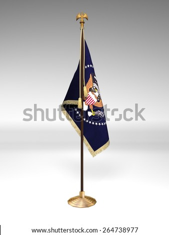Presidential Flag with Presidential Seal on stand, isolated on white background - stock photo