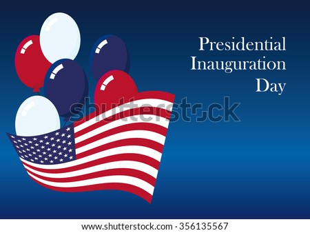 Presidential Inauguration Day. Americans celebrate the newly elected US President. Holiday background. Festive card. Blue background with the American flag. Festive illustration - stock photo