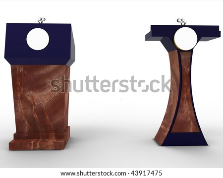Presidential speech lecturn podium, with blank space for logo, isolated - stock photo