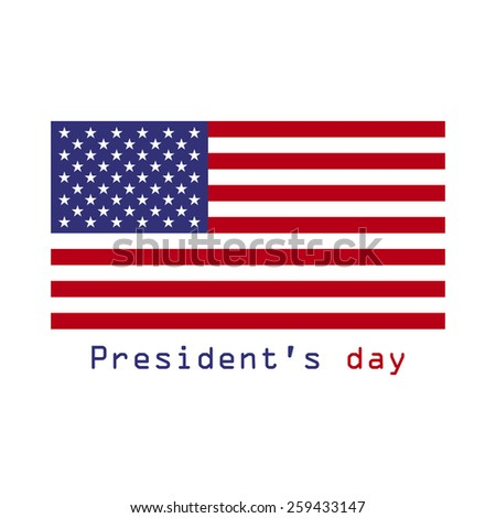 Presidents day. February 16. Flag USA. Flat illustration. - stock photo