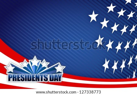 Presidents day red white and blue illustration design graphic background - stock photo