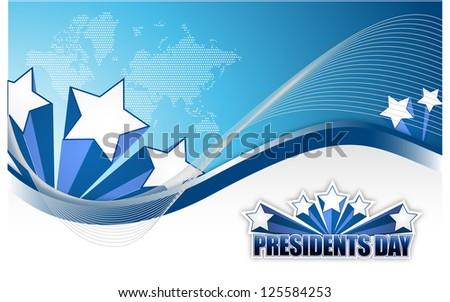 Presidents day sign illustration design over a blue background - stock photo