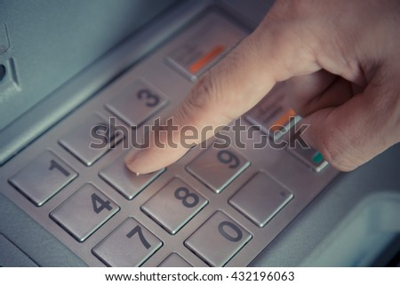 Press ATM EPP password keyboard background - stock photo