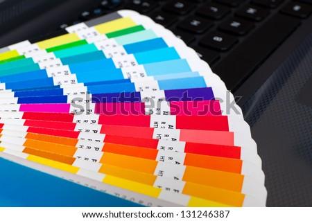 Press color management - cmyk palette - stock photo