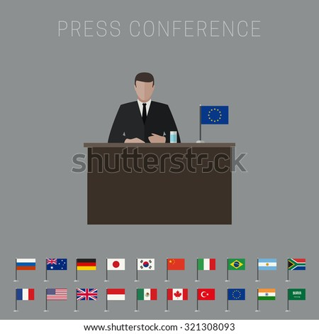 Press conference banner with simple flags icons of the countries in flat style. Raster version. - stock photo
